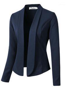 Moda Abrigos de otoño y chaquetas para las mujeres para trabajar en los zapatos de la mujer Traje delgado Sin botón Mujer Negocio1