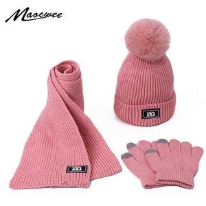Three-piece Scarf Hat Set Baby Girls Children PomPon Beanies Knitted Skullies Hats Kids Winter Warm Wool Crochet Caps Unisex 201021