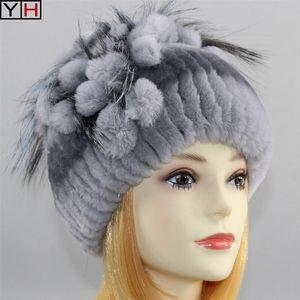 Heiße Frauen Real Hut 100% Natürliche Rex Kaninchen Fuchs Hüte Russische weibliche Strick Kopfbedeckung Gute elastische warme Pelzkappe Y200102 S