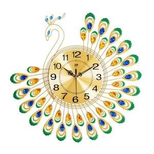 DIY Decorative Wall Clocks Crafts 3D Gold Diamond Peacock Wall Clock Metal Watch for Home Room Office Decor Ornaments 38X38cm