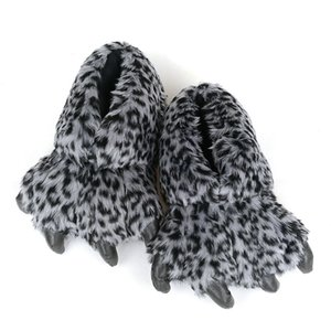 FAYUEKEY Spring Winter Home Warm Paw Plush Leopard Women Slippers Thermal Soft Funny Animal Claw Slippers Bedroom Flat Shoes 201104