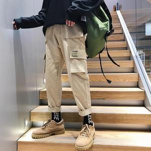 Men Vintage Cargo Pants 2020 Mens Hiphop Khaki Pockets Joggers Pants Male Korean Fashion Sweatpants Winter Overalls