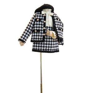 Fashion Girls Outfits autumn winter woolen girls suits jacket coats+skirts 2pcs set princess kids suits girls clothes kids clothing B2230