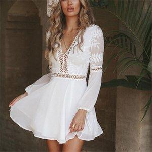 Donne Bianco Trim breve mini abito Sundress estate casuale sexy scollo a V a maniche lunghe in pizzo veste il trasporto di goccia