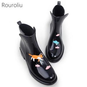 Rouroliu Frauen PVC Knöchel Regenstiefel Cartoon Tiere wasserdichte Wasserschuhe Frau Regenboots Wellies Slip-on lj201030