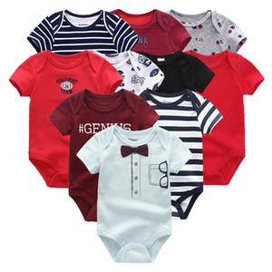 2021 Coton Baby Boy Vêtements Ensemble 10pcs Neuf Neu-né Imprimé Unisexe Baby Girl Vêtements Combinaisons Dessin animé manches courtes Pure Ropa Bebe Q0109
