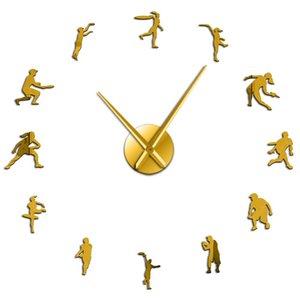 Macho e fêmea dos jogadores de ténis Diy gigante Relógio de parede amante do tênis Sala Wall Art Frameless Efeito Espelho Modern relógio relógio bbyCeO