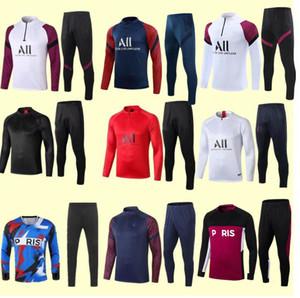 Allenamento di calcio Suit Mbappe Felpa manica lunga 20/21 Maillot deley di Maria Verratti Football Jobing Jacket Tuta