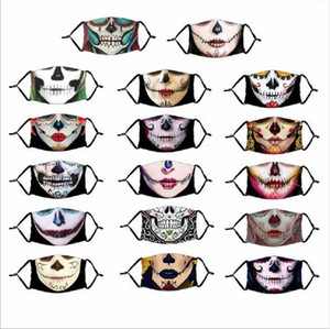 Pumpkin Spoof 3D Print Horror Clown Halloween Skull Party Masks Cartoon Dustproof Mask with Filter for Adults Kids Child XH0P75
