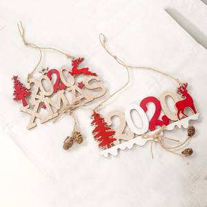2020Wooden Christmas Tree Pendant New Year Home Decorations Christmas Closet Drop Ornaments Hangings