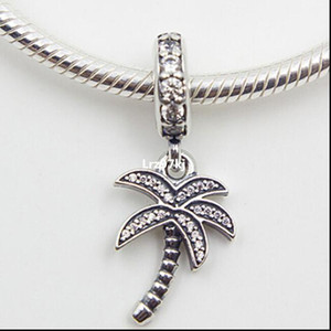 Sparkling Palm Tree Dangle Charm Pendant Bead with Clear Cz Fits European Pandora Jewelry Bracelets & Necklace 2056