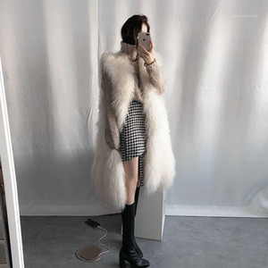 Women 2021 Autumn Winter V-Neck Long Faux Fur Thick Warm Vest Coat Furry Female Jacket New Ladies Fake Fur Gilet Waistcoat C2971