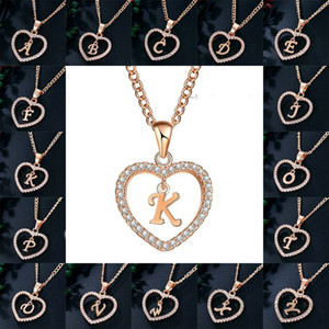 Ожерелье горный хрусталь начальная буква с сердцем кулона ожерелье алфавит золотые ошейники подвески для женщин подарок