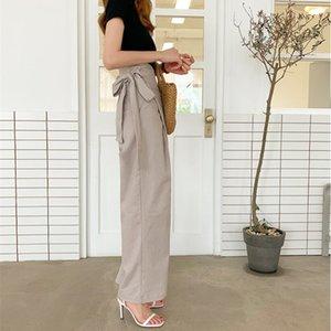 Qooth Chic Corea Pantalones Mujeres sólido con cordón de cintura alta larga de las señoras Pantalones resorte de la manera femenino del algodón Pantalones qh2255 201012