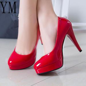 Fashion Mature Women Pumps Classic Patent Leather High Heels Shoes Red Sharp Head Paltform Wedding Women Dress Shoes Plus 34-42