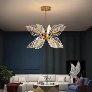 Moderne Schmetterling Wohnzimmer LED Pendelleuchte Nordic Einfache Schlafzimmer Küche Kreative Goldene Transparent Acryl Flügel Kronleuchter