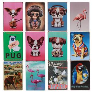 Lovely Flamingo Pug Pets Dog Tin Sign Indoor Room Decor Modern Cafe Tea Shop Pub Iron Painting Vintage Metal Plaque Plate Poster