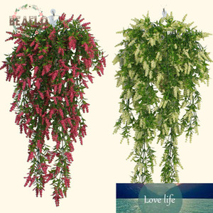 1PC Plastic Wall Hanging Artificial Plant Leaves Lavender 5 Branches Flower Basket Accessories Balcony Home Decorative 55cm