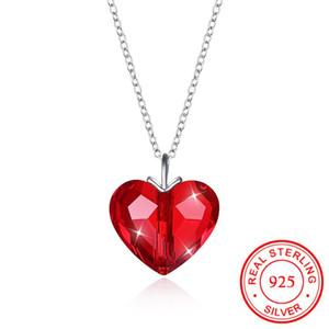 Luxury Austrian Crystal Red Love Heart Pendant Necklace for Lovers Valentines Gift S925 Sterling Silver Romantic Wedding Bijoux