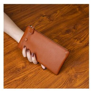 ll New top layer leather long ladies wallet card mobile phone bag soft leather ultra-thin simple wallet zipper bag man