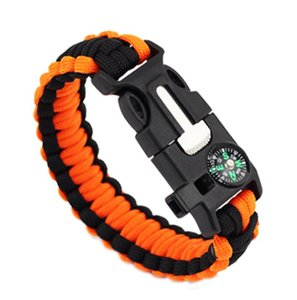 Mens and Womens Outdoor Sports Camping Bracelet Important Keep Safe High Quality Paracord Bracelets with Compassps1505