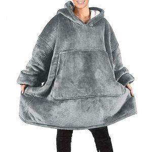Suar manta Blanket Oversized camisola do Hoodie Inverno Plaid Hoodie da camisola gigante Mulheres velo cobertor com mangas de Banho