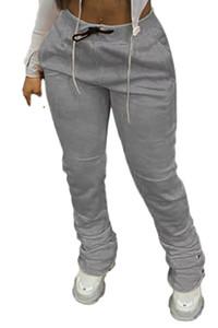 Kadınlar İpli Yığın Pantolon Sonbahar Orta Bel Katı Renk Pantolon Bayan Casual Pantolon