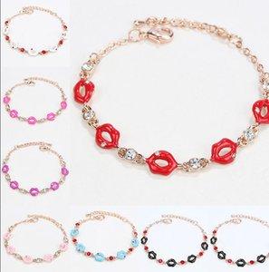 Pulseras de cristal de forma de labios para mujeres clásico de alta calidad de alta calidad Pulsera de cristal de cristal Marca de moda Joyería de Rhinestone -P