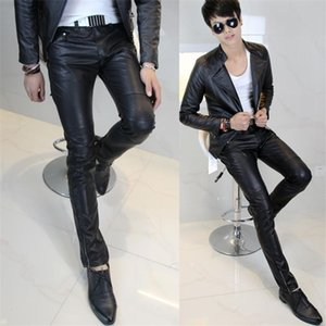 New Arrival Hot-selling Men's Clothing Tight Slim Fashion Men Leather Pants Male 0930