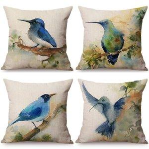 Chinês estilo aquarela azul pássaros impressão decorativo travesseiro caixa de tinta pintura azul-marinho pátio pátio capa de almofada ao ar livre