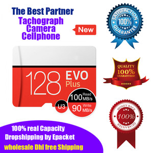 2019 New EVO Plus 128G Real Capacity U3 High Speed Micro SD Memory card 128gb Tachograph TF Card UHS-I Microsd Epacket DHL Shipping