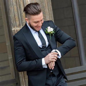 Fashion One Button Slim Fit Men Tuxedos Groom Wedding Suits Peaked Lapel Blazer Three Pieces Groomsman Clothing Jacket Vest And Pants