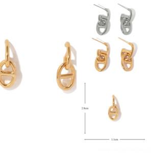 Owtvt zs cz courbe goujons boucles d'oreilles rétro pour femmes simples en acier plat cartilage cartilage de mode piercings tragus boucles d'oreilles nez goujons oreille
