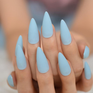 24pcs Baby Blue Reusable Stiletto False Nail Frosted Matte Press On Easy Wear Artificial Long Fake Nails Art Women Decorations
