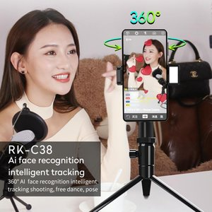 360 Rotatable Smart AI Face Tracking Live Broadcast Smart Follow Shooting Phone Holder Bracket Selfie Stick Fill Light Gimbal