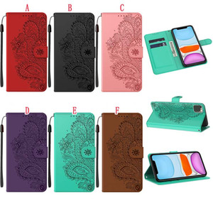 Skin Feel Wallet Leather Case For Iphone 12 Mini 11 Pro Max X XS XR SE2 7 Plus 8 6 6S Peacock Palace Flower Strap Stand Phone Cover Luxury