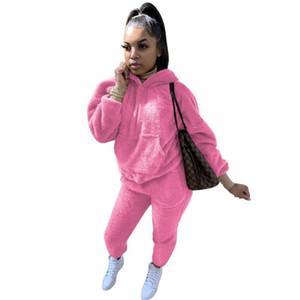 Mujer felpa caliente mullido traje otoño casa dos piezas conjunto casual peluche de manga larga sudorsuit hoodies joggers pantalones traje chándal al aire libre