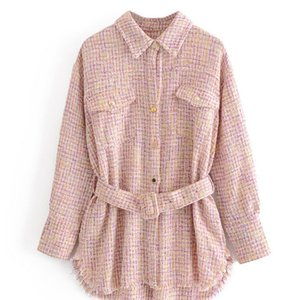 Hot Women Pink Plaid Oversize Tweed Jacket Houndstooth Coat Long Sleeve Loose Casual Long Checked Outerwear Top With Belt LJ200928