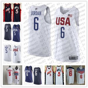 2020 мужчин женская молодежьКоманда США5 Стифон Марбери # 6 Леброн Джеймс темно-синий летний Олимпиада сшитый баскетбол пользовательских майки