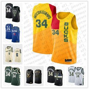 2020 Milwaukee dos homens personalizadosBucks.6 Eric Bledsoe 34 GiannisAntetokounmpo Verde Branco Branco Preto Jersey Jersey