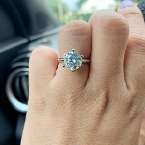 AEAW 1.0ct 3ct 5ct EF Round 18K White Gold Plated 925 Silver Moissanite Ring Diamond Test Passed Jewelry Woman Girlfriend Gift 201114