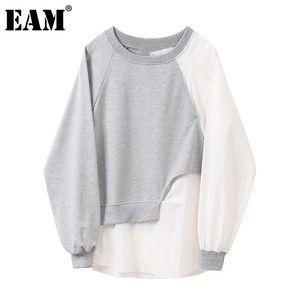 Sweats à capuche pour femme Sweatshirts [Eam] Loose Fit Grey Split Sweat-shirt à col rond Col à manches longues Femmes Grand Taille Mode Marée Spring Automne 2