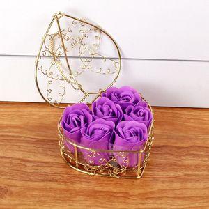 Criativo Valentim Dia Rose Ferro Box Embalado Handmade Rose Soap Flor Simulação Flower Birthday Festa Presentes EEF4257