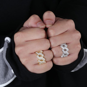 Hip Hop Iced Out Cuban Ring Men's Prong Setting Gold Silver Color Jewerly Bling Cubic Zirconia Ring Charm Jewelry