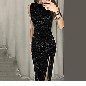 Sexy Vestidos De Fiesta Sleeveless Sequin Bodycon Party Wedding Prom Formal Women Dress Hot Sales Q190511