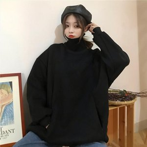 new Casual Womens 2020 NEW Autumn Turtleneck Womens Basic Pullover Cotton Christmas Sweatshirts Women Pullovers pull