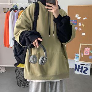 Autumn Hoodies Men's Fashion Contrast Color Casual Hooded Sweatshirt Men Streetwear Hip-hop Loose Pullover Hoodie Mens M-5xl
