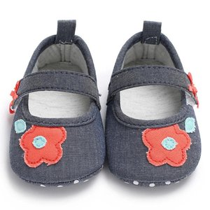 0-18M Cute Baby Girls Floral First Walkers Shoes Newborn Soft Hook & Loop Baby Girls Shoes FXD0