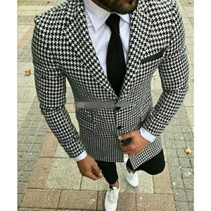 New Arrival Houndstooth Men Jacket Only Dinner Party Prom Groom Wedding Custom Made Terno Masculino Slim Fit Tuxedo Coat Only