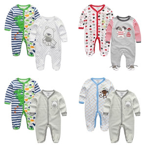 2 PCS LOT Baby Rompers Boy Girls Clothing Cute Cartoon Unisex 0-12Months Long Sleeve de bebe Baby Clothes W1218